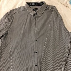 MENS Long Sleeve striped Button-up